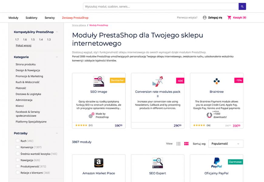 Nowoczesny sklep internetowy PrestaShop wraz z najlepszymi modułami